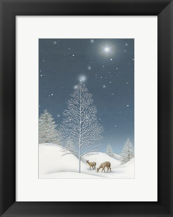 Framed Snowy Winter TreeWith Star and Deer Print