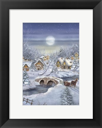 Framed Holiday Village Horse and Sleigh Print