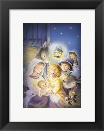 Framed Mary and The Animals Manger Scene Print
