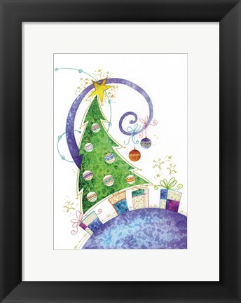 Framed Christmas Tree and Purple World Print