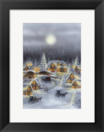 Framed Horse and Buggy In Winter Snow Print