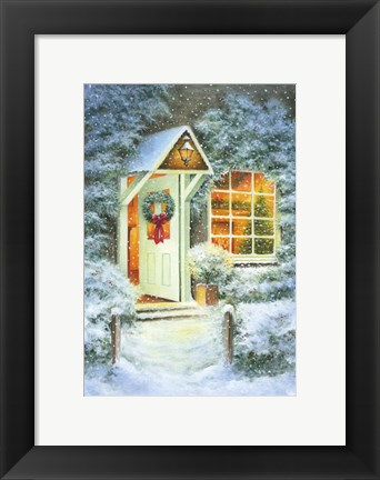 Framed Snowy Winter Christmas Open Home Print