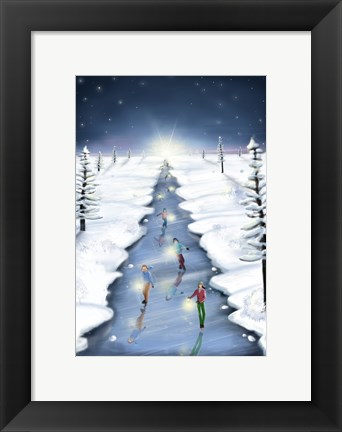 Framed Ice Skating On Christmas Tree Road Print