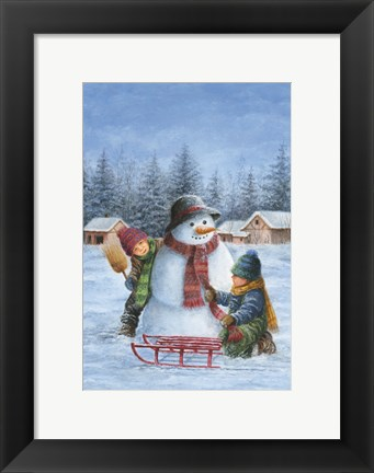 Framed Winter Snowman Child Check Print