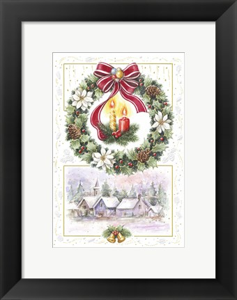 Framed Holiday Wreath and Village With Candles Print