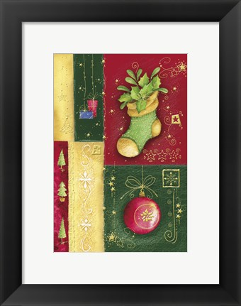 Framed Holiday Sock and Christmas Ornament Print