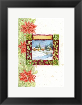 Framed Pointsettia and Snow Village Print