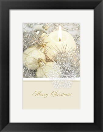Framed Golden and Silver Ornament Merry Christmas Print