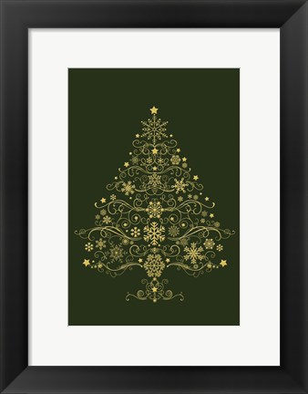 Framed Green and Gold Holiday Tree Print