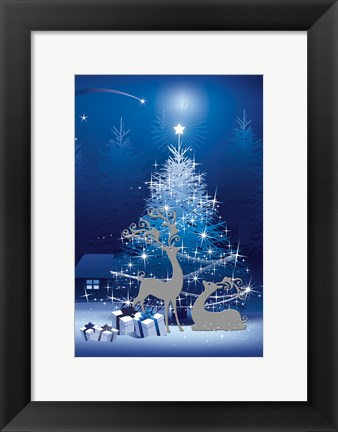 Framed Blue and White Winter Tree and Deer Print