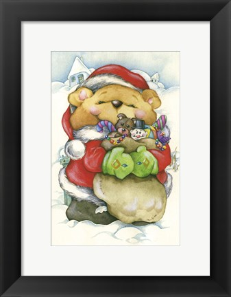 Framed Christmas Gift Bear Hug Print
