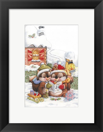Framed Chipmunk Christmas Carol Print