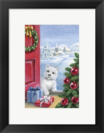 Framed Puppy Watching Christmas Gifts Print