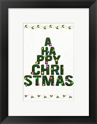 Framed Happy Christmas Text Tree Print
