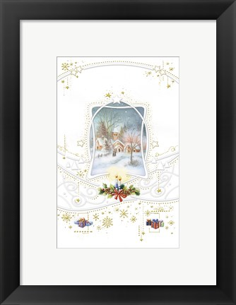 Framed Holiday Candles and Gifts Around Snow Village Print