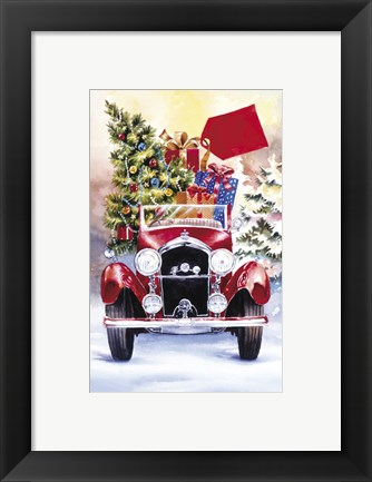 Framed Christmas Tree Classic Car Ride II Print