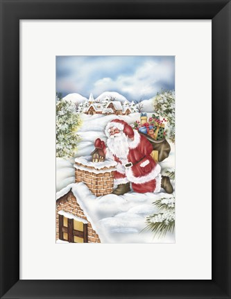 Framed Santa's Gift Bag At The Chimney Print