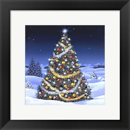 Framed Christmas Tree and Glowing Lights Print