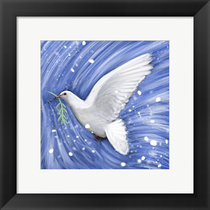 Framed Dove In The Winter Wind Print