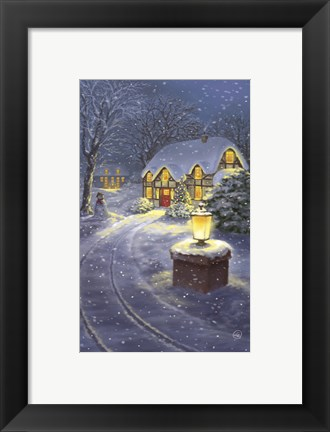 Framed Snowy Winter Christmas Road Home Print
