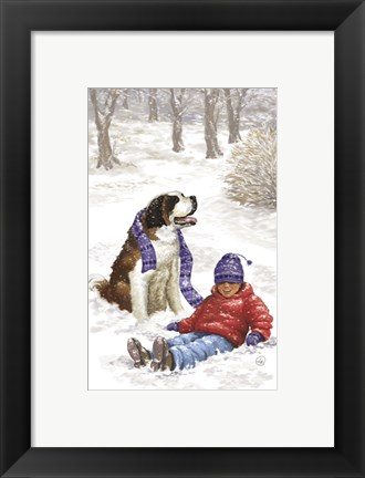 Framed Child and Pet Winter Fun Print