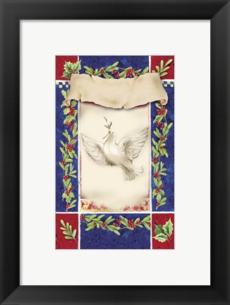 Framed Mistletoe Holiday Dove Print
