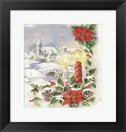 Framed Holiday Candles With Pointsettia Print