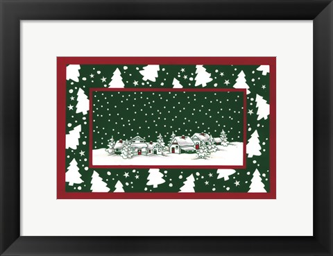Framed Red and Gree Christmas Village Print