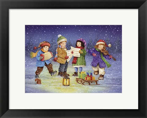 Framed Winter Christmas Caroling Print