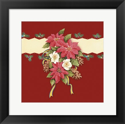 Framed Pointsettia With Mistletoe and Ribbon Print