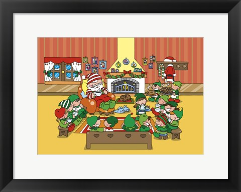 Framed Santa and Elves Tea and Muffin Meet Print
