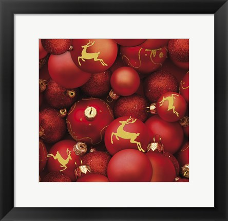 Framed Red and Gold Sparkling Ornaments Print