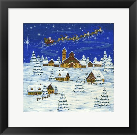 Framed Santa Flying and Snow Village Print