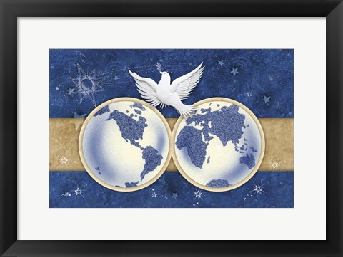 Framed Blue and Gold Dove and Earth Print
