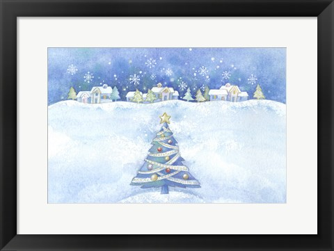 Framed Starry Christmas Tree and Town Scene Print