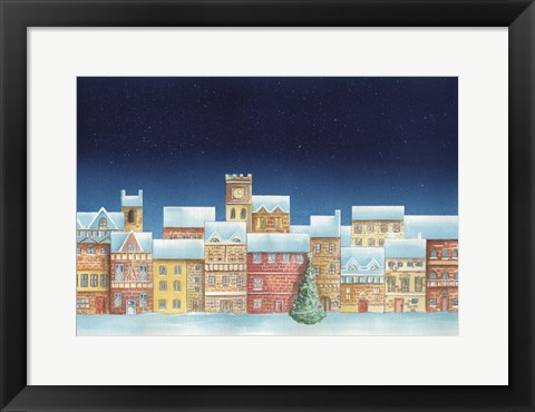 Framed Christmas Tree and Colorful Village Print