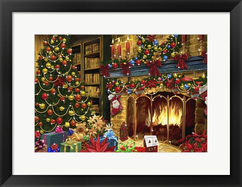 Framed All Decorated For Christmas Around The Fire Print