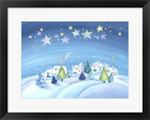 Framed Starry Holiday Snow Scene Print