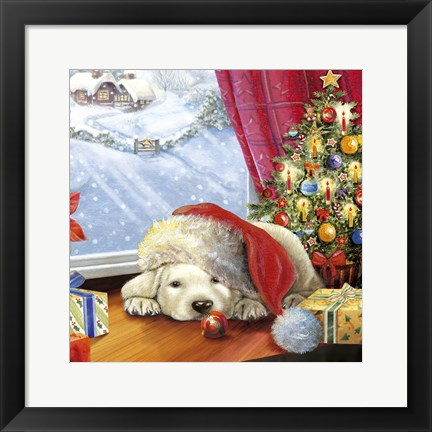 Framed Puppy Snug and Christmas Tree Print