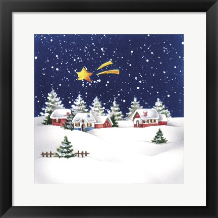 Framed Holiday Star and Snow Village Print