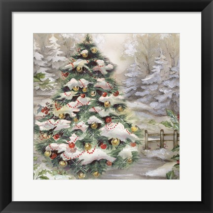 Framed Christmas Tree In Snowy Woods Print