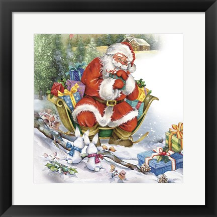 Framed Santa's Christmas Sleigh Bunny Meeting Print