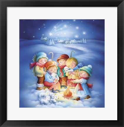 Framed Little Shepherds Christmas Meet Print