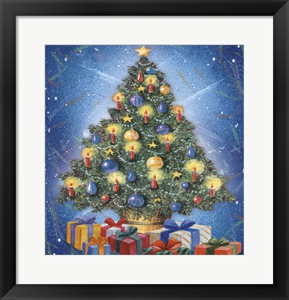 Framed Christmas Tree and Colorful Gifts Print