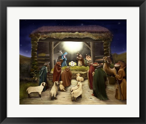Framed Three Kings Visit The Manger Print