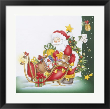 Framed Santa's Christmas Gifts and Sleigh Print