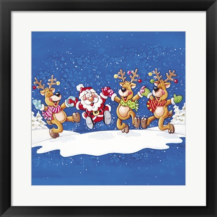 Framed Santa's Christmas Winter Deer Dance Print