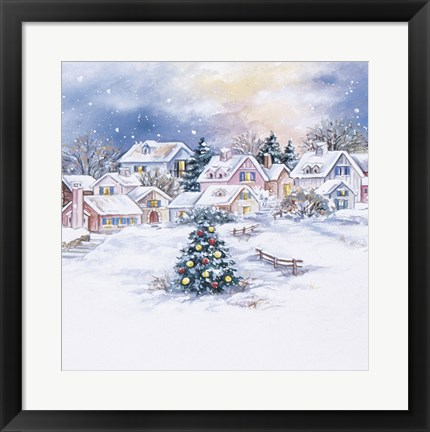 Framed Christmas Tree In Snowy Village Print