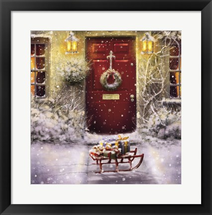 Framed Red Door and White Christmas Print