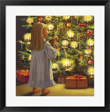 Framed Little One and Bear Christmas Tree Look Print